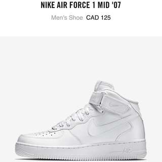 Nike Air Force 1 white mid woman size 6.5