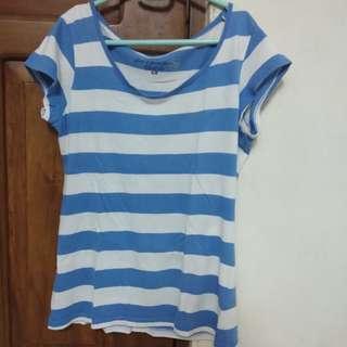 h&m sky blue stripes top