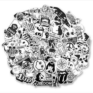 100 Luggage Stickers (Black and White)