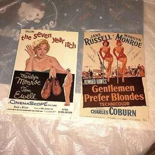 20世紀 霍氏電影 七年之癢 紳士愛美人 明信片 共兩張  瑪麗蓮夢露 珍蘿素