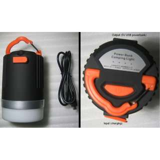 Camping Lantern . portable rechargeable light with hanger . also a Powerbank