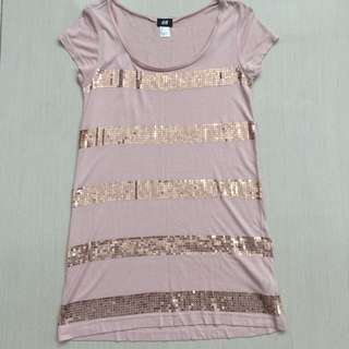 H&M long top with sequin