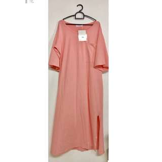 Pastel Pink Casual T-shirt Long Dress