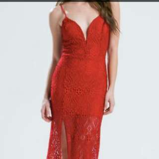 Red Lace Asos High Slit Evening Dress