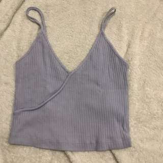 Topshop Ribbed Crop Top in periwinkle lilac