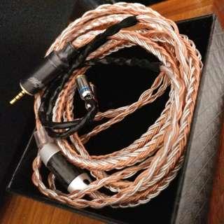 16絞7N單晶銅鍍金銀混織16絞耳機線2.5 Astell & kern 平衡頭mmcx 插針 shure campfire westone fender mmcx 用