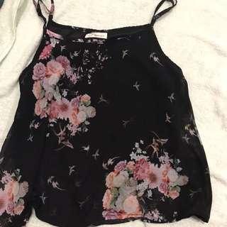 Floral Spag Top black