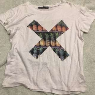 pineapple x authentic brandy melville tee shirt cropped top T