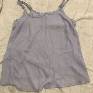 cotton on periwinkle chiffon spag top tee shirt T