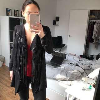 Zara Black Flowy Cardigan with Faux Leather Fringe