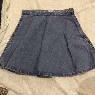 Denim Skirt AA american apparel light wash circle