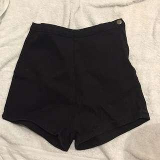 AA SIDE ZIP Black High Waist Shorts