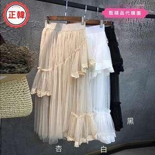 [正韓]春裝中長款大擺紗裙鬆緊腰拼接蕾絲半身裙蓬蓬A字長裙