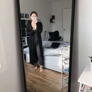 H&M-Long Black Cardigan with Slits on sides