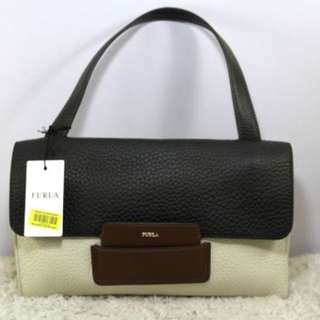 FURLA Maia Top Handle Color Block Leather Bag-BLACK/WHITE