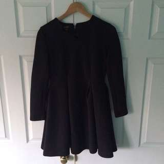 Black fitted structured flared out dress