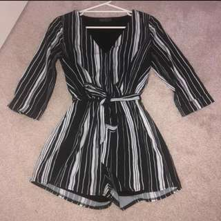 Striped black and white playsuit