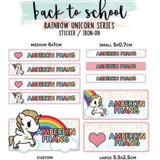 Customised Name Stickers unicorn rainbow