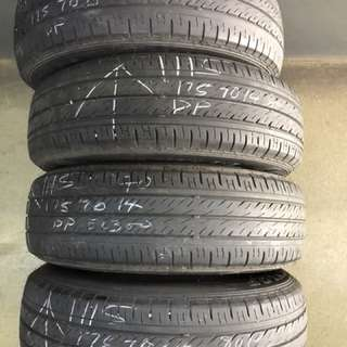 175/70/14 dunlop 4pc used tyre 2pc 60% $35pc 2pc 80% $40pc