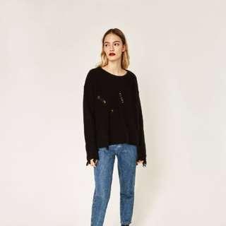 Zara ripped detail Sweater   medium