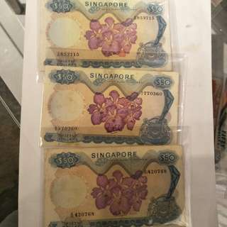 Sg old $50 notes 3pc x $65