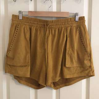 Suede-material shorts