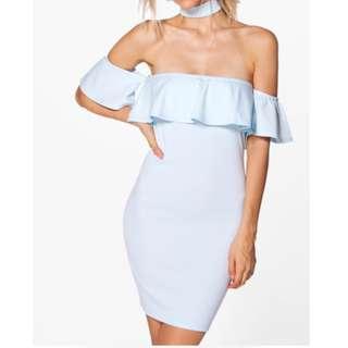 Boohoo - Off-shoulder, White, BodyCon Dress