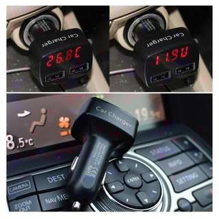 New Ready Stock Car Dual USB Ch arger - Voltage, Current ,Temperature Sensors