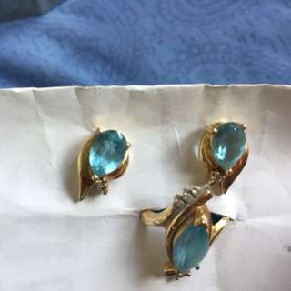 18k yellow gold set of ring and earrings