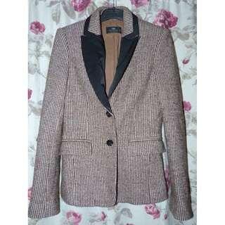 Cue wool blend tweed brown jacket size 8 Excellent $45