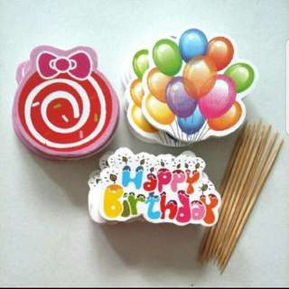 Happy Birthday Cake/Cupcake/Muffin Toppers for Party Decoration