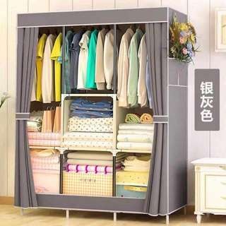 DIY cabinet cloth organizer trio with curtain style