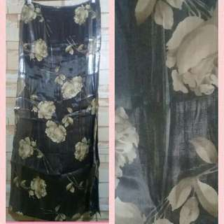 Metallic Silver With Floral Long Skirt