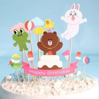 Birthday Line Friends Cake Topper Cupcake Decoration HappyParty Brown Cony Sally