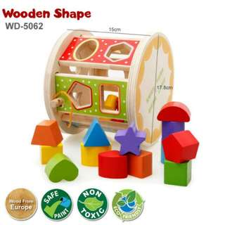 FREE POS Ready Stock Early Learning Wooden Shape Educational Kid Baby Early Childhood Development