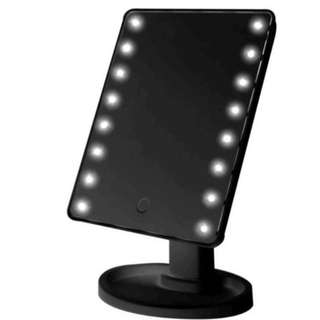 LED Touch Screen Makeup Mirror Portable 16 LEDs (Black)