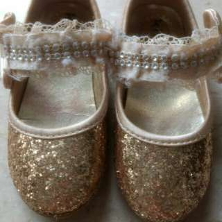 Golden baby girl shoes 15cm insole