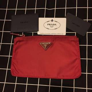 Prada 紅色 化妝袋 小袋 有拉鏈