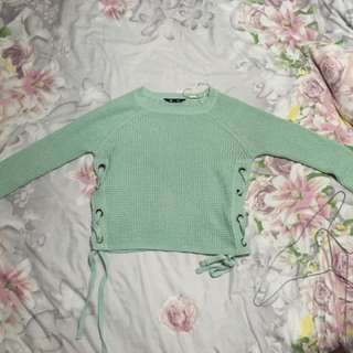 Mint green, short knitted shirt