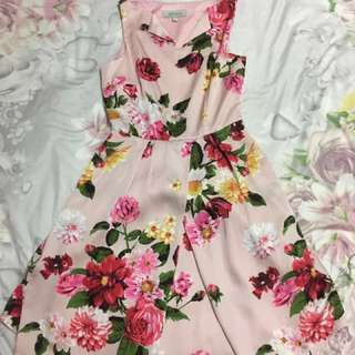 Pink, floral summer formal dress