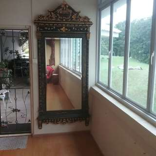 Antique huge peranakan victorian mirror black and gold