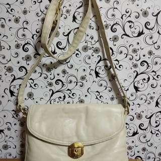 White Leather Sling Bag