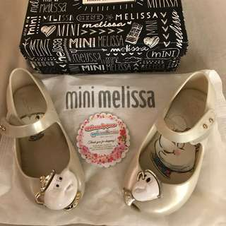 Well-loved authentic mini melissa beauty and the beast size 8