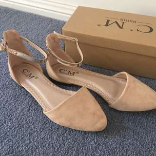 Beige Flats with Ankle Straps