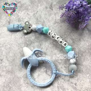 Customized Pacifier Clip with letter beads + Pastel blue corn Teether