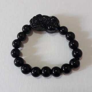 🎆Special Offer.🎆 Natural Black Obsidian+Pi Xiu bracelet,*black stone*(黑曜石+貔貅手链, 黑石). Bead size 10mm.