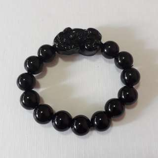 🎆Special Offer.🎆 Natural Black Obsidian+Pi Xiu bracelet,*black stone*(黑曜石+貔貅手链, 黑石). Bead size 12mm.
