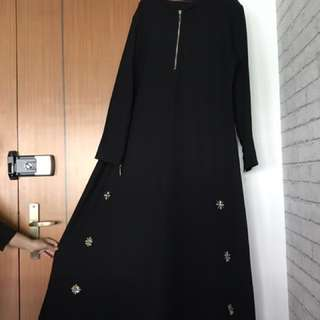 Abaya jubah plus size with breastfeeding zip