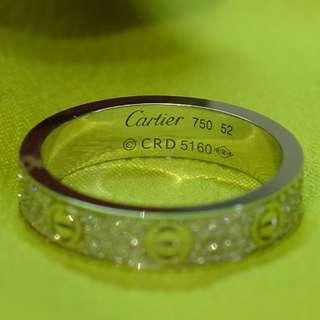18k白黃金鑽石戒子.  16.5mm內圈