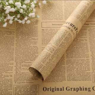 (5 sheets) Vintage Newspaper Print Brown Kraft Flower Wrapping Paper
